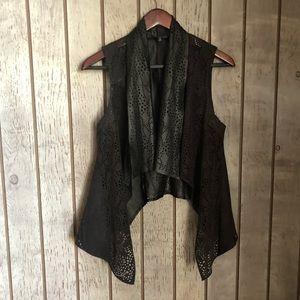 Miss Me Black Faux Leather & Suede Vest Small